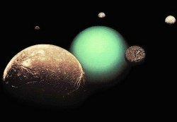 Urán s niektorými svojimi mesiacmi (koláž snímok Voyager 2)