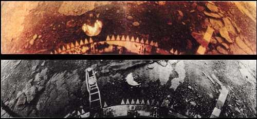 Snímky povrchu Venuše zo sondy Venera 13. Na oboch snímkach vidno lesklé kryty kamier, ktoré sa uvolnili po pristátí.